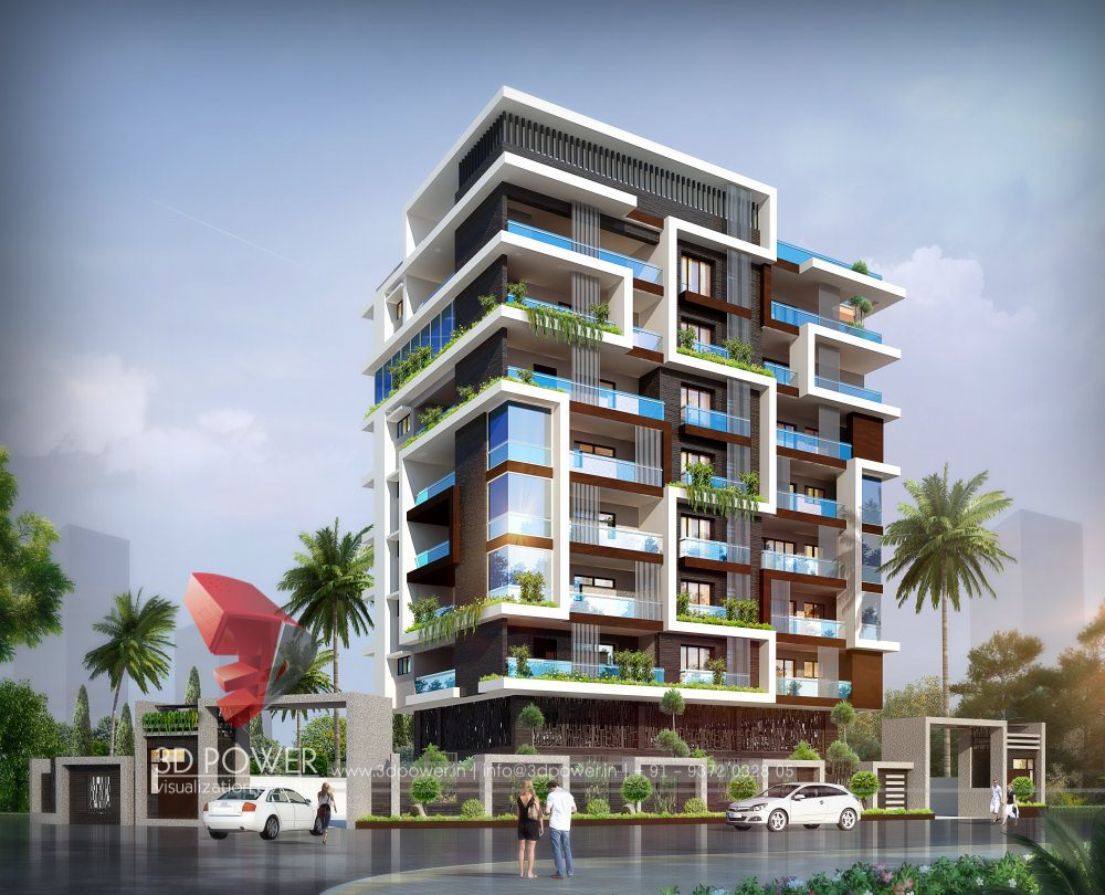 Apartment Exterior Design - Dubai 3D Rendering, 3D ...